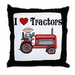 I Love Tractors Throw Pillow