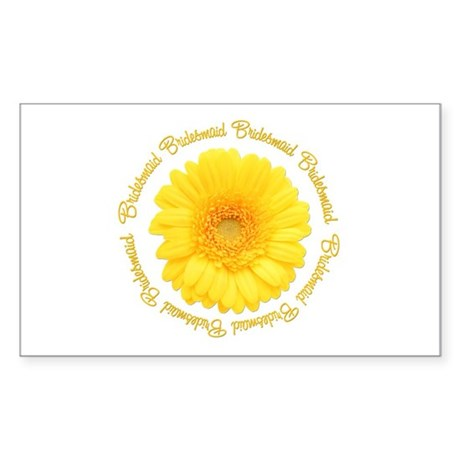 Yellow Daisy Bridesmaid Rectangle Sticker