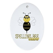 Spelling Bee Champ Oval Ornament