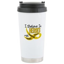 I Believe In Heroes CHILDHOOD CANCER Travel Mug