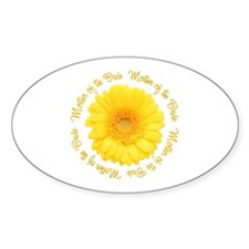 Yellow Daisy Mother of the Bride Oval Decal
