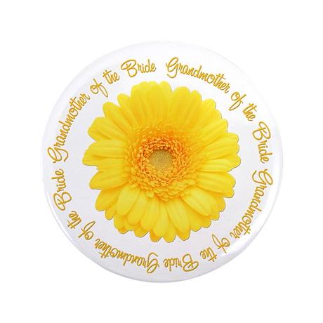 "Yellow Daisy Bride's Grandmother 3.5"" Button (100"