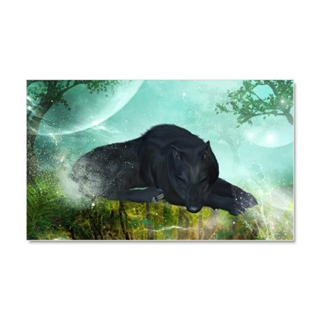 Awesome sleeping wolf in the night Car Magnet 20 x