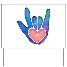 Blue/Pink Glass ILY Hand Yard Sign