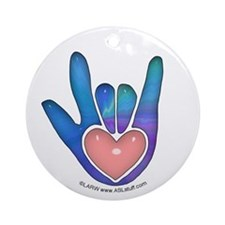 Blue/Pink Glass ILY Hand Ornament (Round)