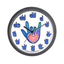 Blue/Pink Glass ILY Hand Wall Clock