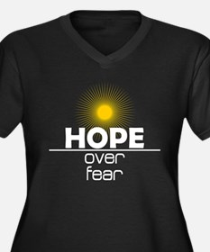 Hope Over Fear Women's Plus Size V-Neck Dark T-Shi