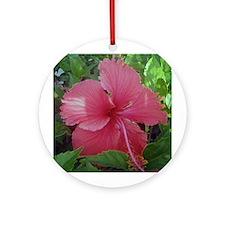 Pink Hibiscus Ornament (Round)