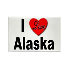 I Love Alaska Rectangle Magnet