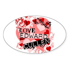 I Love Edward Cullen Oval Sticker (10 pk)