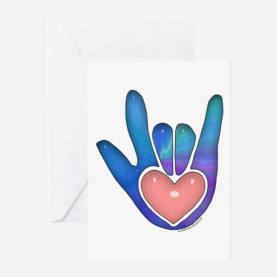 Blue/Pink Glass ILY Hand Greeting Card
