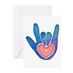 Blue/Pink Glass ILY Hand Greeting Cards (Pk of 10)