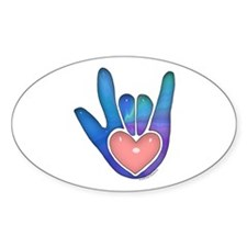 Blue/Pink Glass ILY Hand Oval Decal