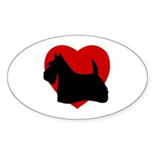 Scottish Terrier Valentine's Day Oval Decal