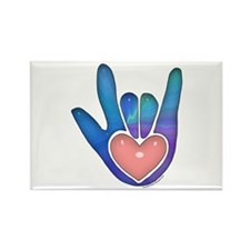 Blue/Pink Glass ILY Hand Rectangle Magnet (10 pack