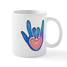 Blue/Pink Glass ILY Hand Mug