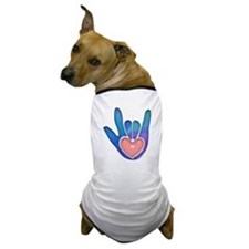 Blue/Pink Glass ILY Hand Dog T-Shirt