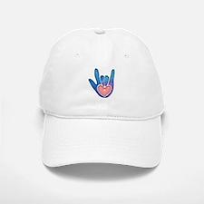Blue/Pink Glass ILY Hand Baseball Baseball Cap