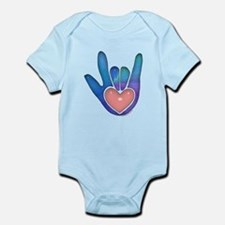 Blue/Pink Glass ILY Hand Infant Bodysuit