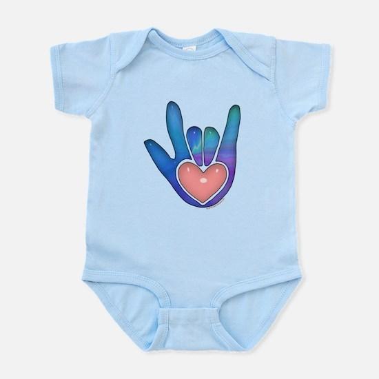 Blue/Pink Glass ILY Hand Infant Bodysuit