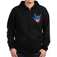 Blue/Pink Glass ILY Hand Zip Hoodie