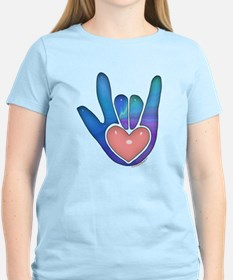 Blue/Pink Glass ILY Hand T-Shirt
