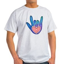 Blue/Pink Glass ILY Hand T-Shirt