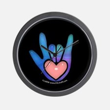 Blue/Pink Glass ILY Hand Black Wall Clock