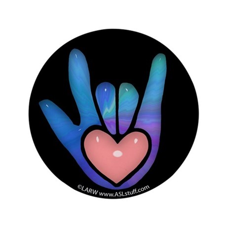 "Blue/Pink Glass ILY Hand Black 3.5"" Button (100 pa"