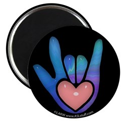 Blue/Pink Glass ILY Hand Black 2.25