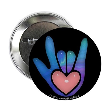 "Blue/Pink Glass ILY Hand Black 2.25"" Button (100 p"