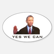 Obama Yes We Can Oval Decal