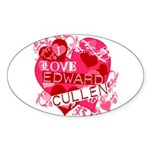 I Love Edward Cullen Oval Sticker (50 pk)