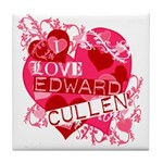 I Love Edward Cullen Tile Coaster