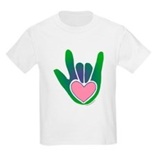 Green/Pink Heart ILY Hand T-Shirt