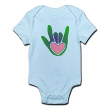 Green/Pink Heart ILY Hand Infant Bodysuit