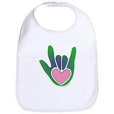 Green/Pink Heart ILY Hand Bib