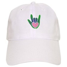 Green/Pink Heart ILY Hand Baseball Cap