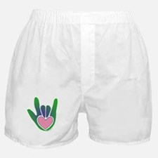 Green/Pink Heart ILY Hand Boxer Shorts