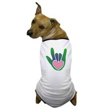 Green/Pink Heart ILY Hand Dog T-Shirt
