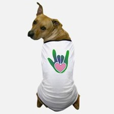 Green/Pink Heart ILY Hand Dog T-Shirt