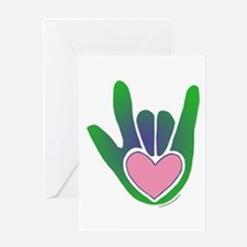 Green/Pink Heart ILY Hand Greeting Card