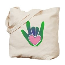 Green/Pink Heart ILY Hand Tote Bag