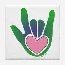 Green/Pink Heart ILY Hand Tile Coaster