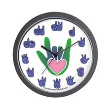 Green/Pink Heart ILY Hand Wall Clock