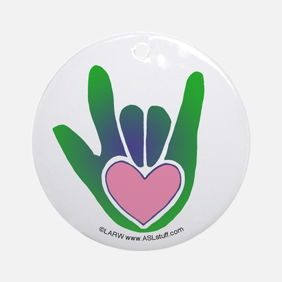 Green/Pink Heart ILY Hand Ornament (Round)