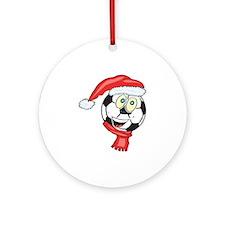 Christmas Soccer Ball Smiley Ornament (Round)