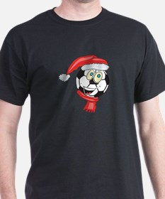 Christmas Soccer Ball Smiley T-Shirt
