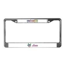 Green/Pink Love Hand License Plate Frame