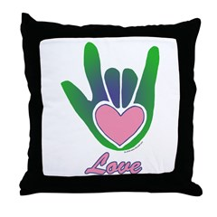 Green/Pink Love Hand Throw Pillow